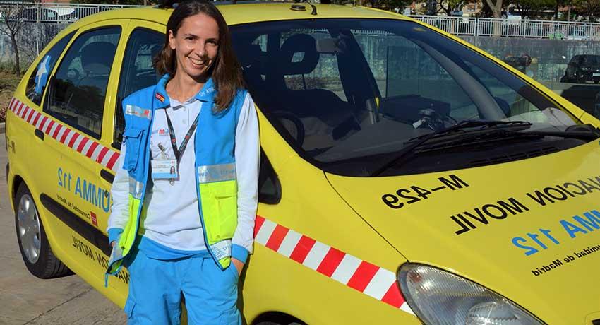 Yaincoa Pérez, enfermera de la Unidad de Atención Domiciliaria del SUMMA 112
