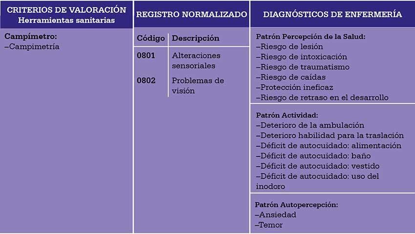 Ficha de resumen del dato clínico Campo visual