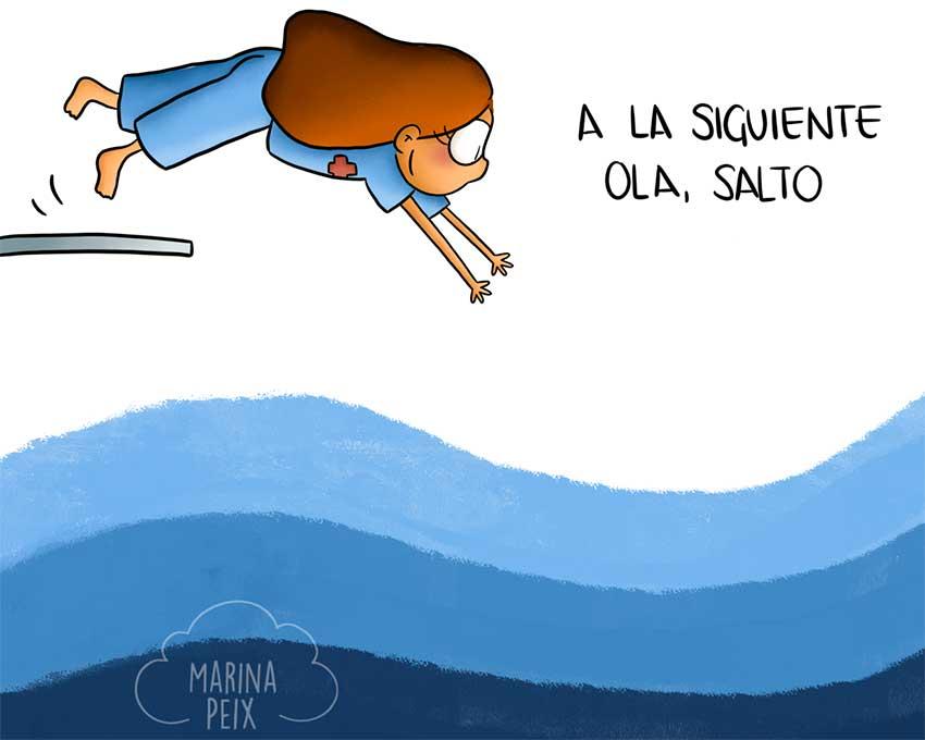 Dibujo de Marina Peix: A la siguiente ola salto